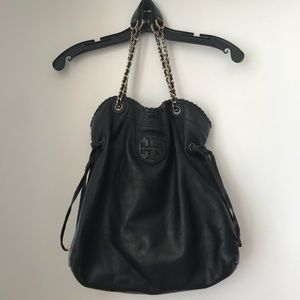 Tory Burch Black Leather Marion Slouchy Tote